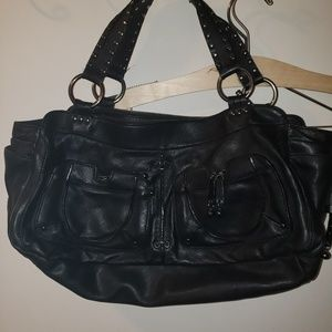 Ellen tracy black leather purse